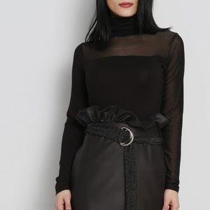 Size L Black Runway half Sheer top